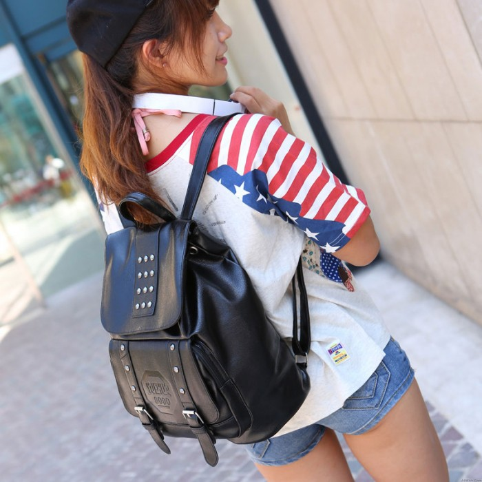College Style Double Arrow Rivet Backpack