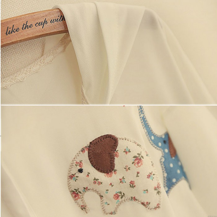 Lovely Embroidery Elephant patches Hooded Flip Cuff Loose Chiffon Shirt