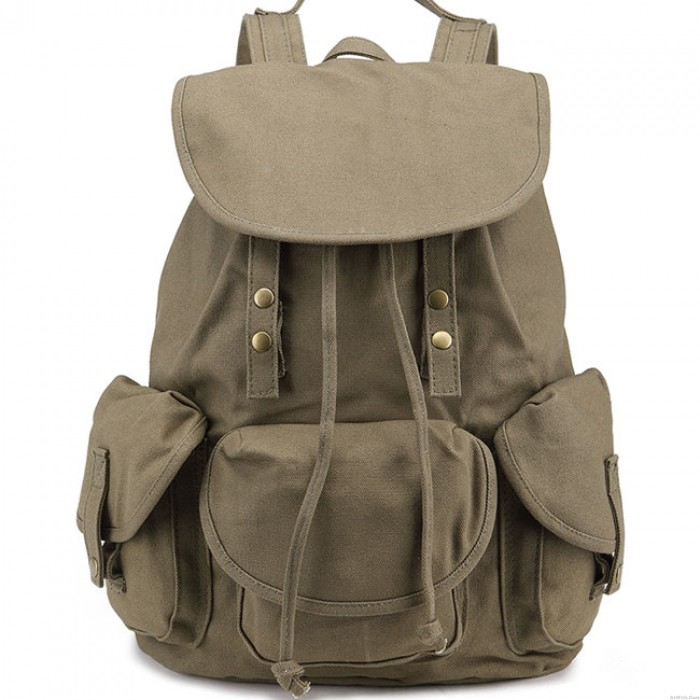 Leisure Three Pockets High School Bag  Student Travel Canvas Backpack