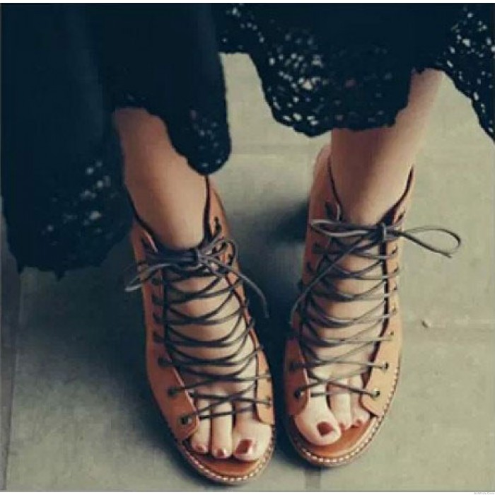 Retro Summer Thick With Roman Sandals Bandage High-heels Leather Shoes