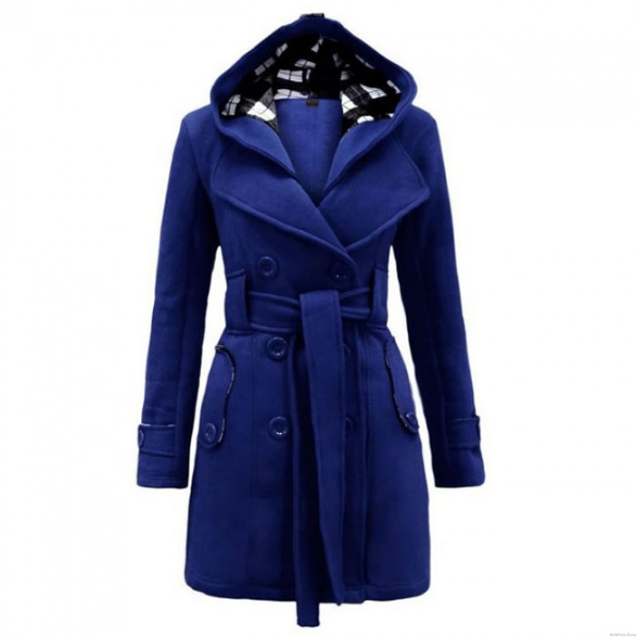 Fashion Lattice Fleece  Hoodie Double Breast Coat Jacket Winter Coat