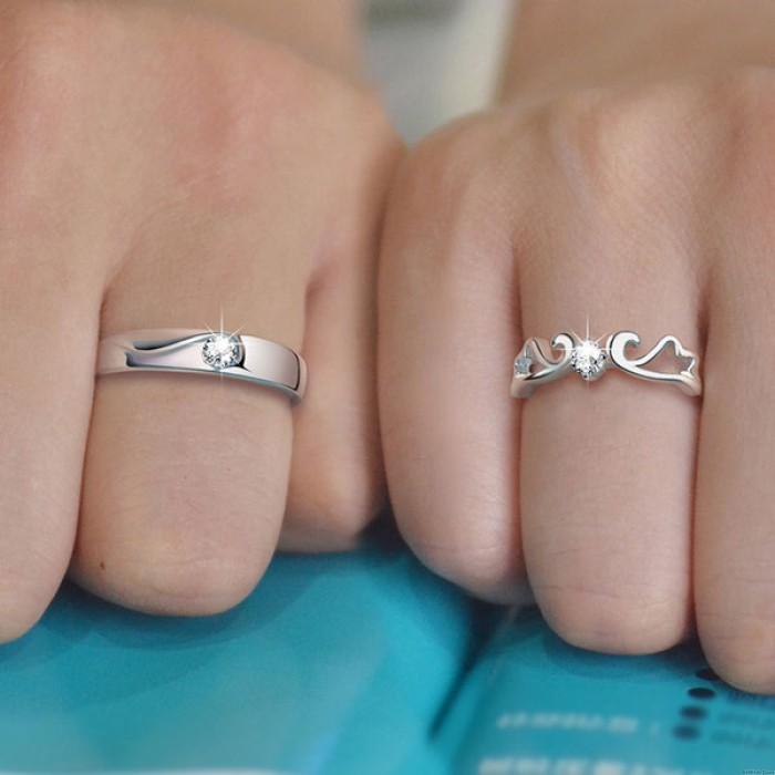 Original Angel Wings Couple 925 Silver Opening Ring