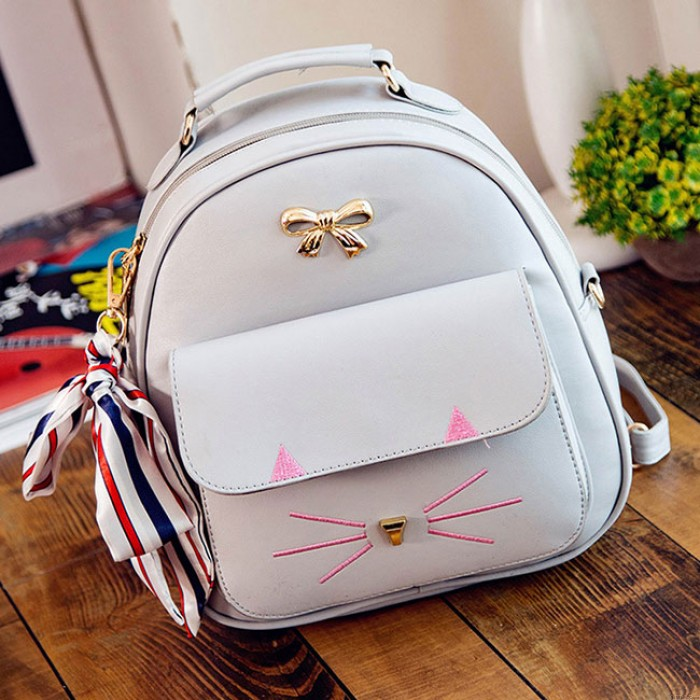 Cartoon Kitty Metal Bow Cat Embroidery Animal Cute Mini School Backpack