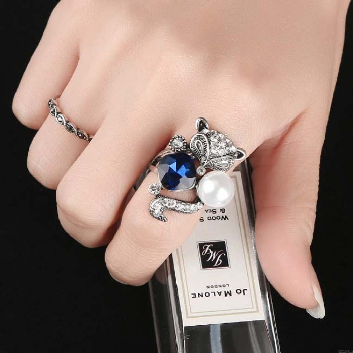 Retro Blue Crystal Pearl Fox Ring Animal Two Set Women Rings