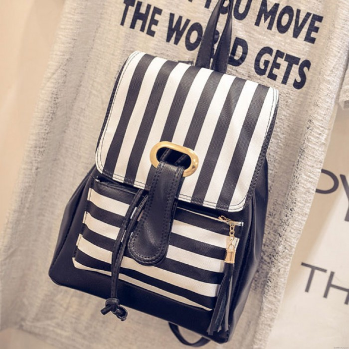 College Stripe Perfume Sheep Crown Backpack Travel Bag