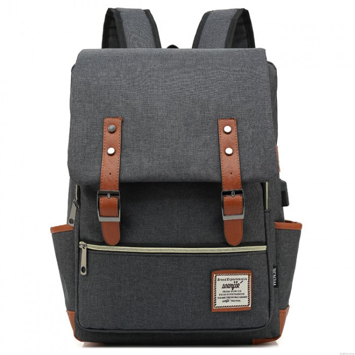 Fashion Large Thick Canvas Girl's College Bag Double Belt USB Interface School Backpack