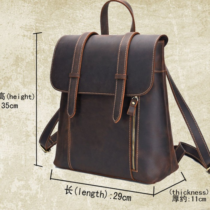 Retro Real Thick Leather British Style Handmade Simple Double Buckle Large School Backpack