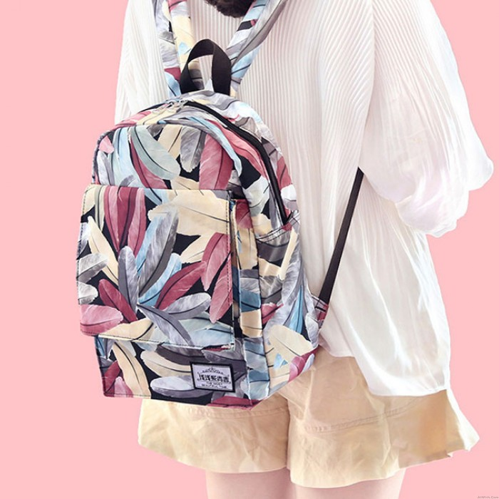 Unique Feather High School Bag Plume Colorful Print Young Girl Student Backpack