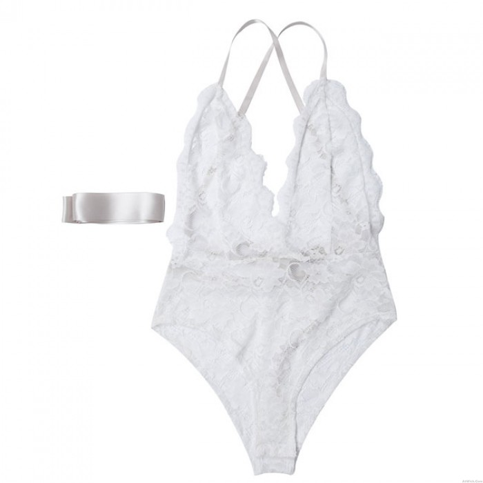 Sexy White Flower Lace Bandage Sling Conjoined Underwear Intimate Lingerie