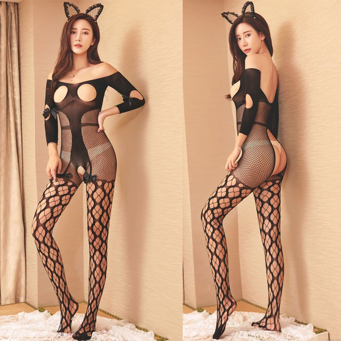 Sexy Siamese Rabbit Girl Fish Net Jacquard Open Crotch Stocking Conjoined Lingerie