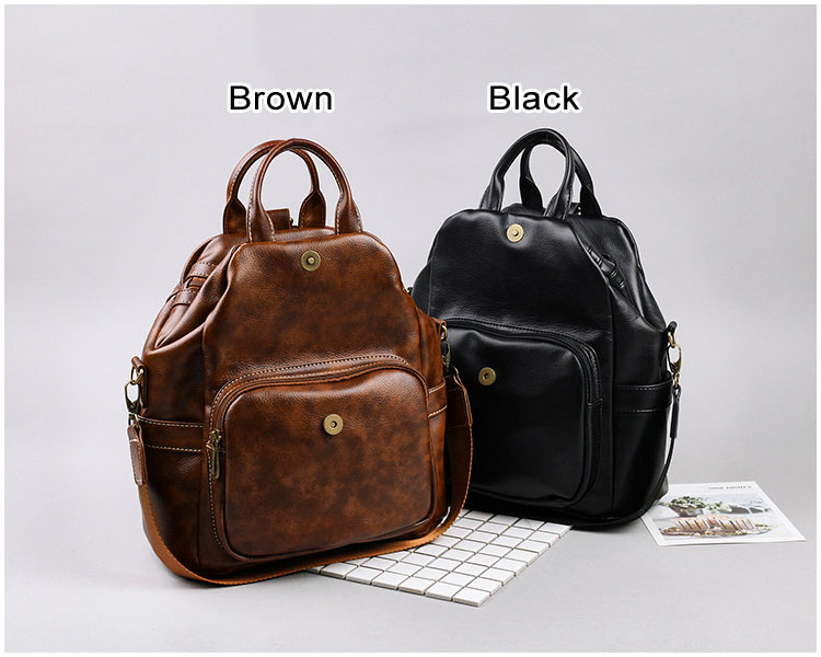 Retro Brown Multi-function Diagonal Zipper Handbag Shoulder Bag Backpack