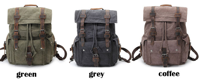 Retro Large School Bag Outdoor Camping Leather Three Buckle Travel Backpack