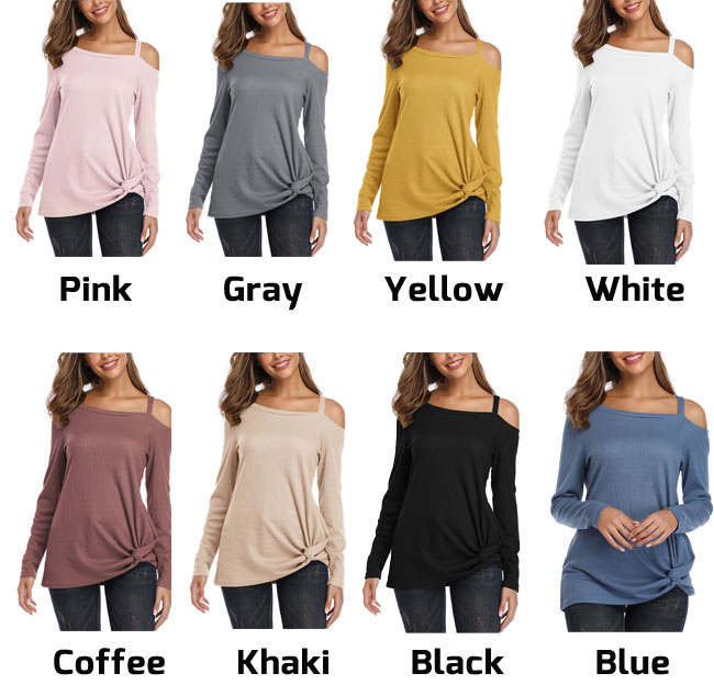 Leisure Pure Color Single Shoulder Strapless Long Sleeve Twisted Tops