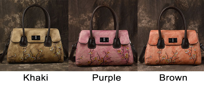 Retro Unique Original 3D Plum Flower Handbag Handmade Cowhide Shoulder Bag