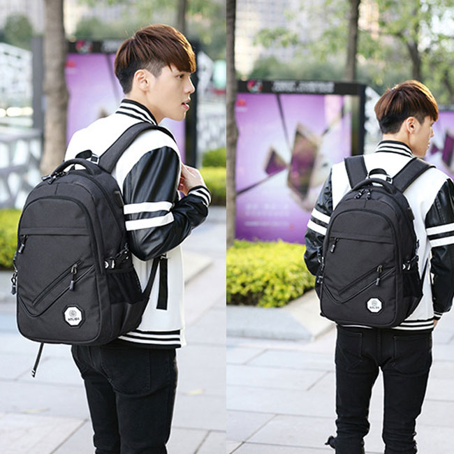 Leisure Large USB Interface Travel Rucksack Diagonal Zipper Outdoor Bag Sport Backpack