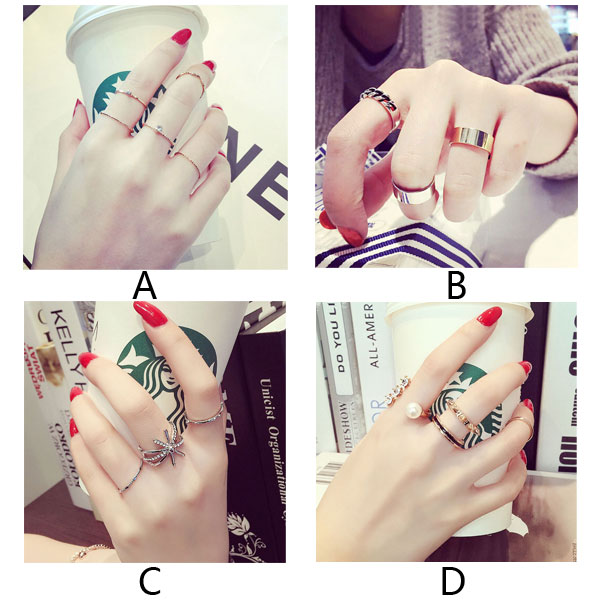 Unique Different Geometric Knot Set Girls Jewelry Pearl Midi Rings