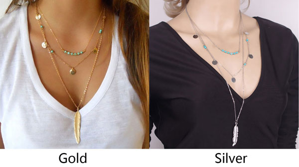 Fashion Multilayer Leaves Feather Y-Necklaces Trendy Tassels Turquoise Women Necklace