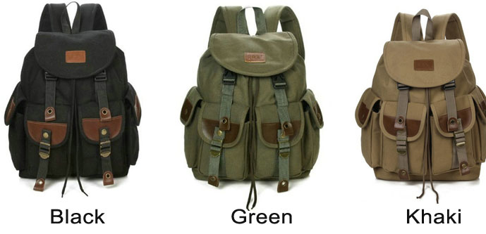 Leisure Large Travel Rucksack Sport Backpack Four Pockets Outdoor Men Canvas Backpack