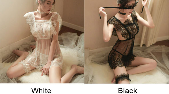 Sexy Eyelash Lace Perspective Temptation Backless Pajamas Nightdress Women Intimate Lingerie