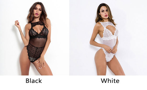 Sexy Black Hollow Perspective Conjoined Women Intimate Lingerie