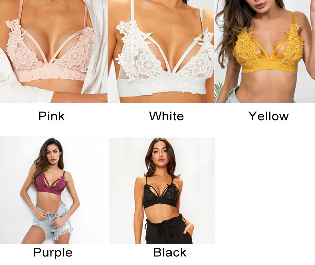 Sexy Camisoles Bra Hollow Sling Hook Flower Lace Intimate Women Lingerie