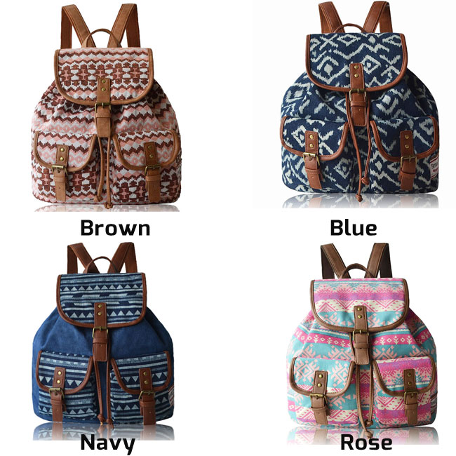 Fashion Geometry Irregular Canvas Retro Oringal Two Pockets  School Leisure Backpack
