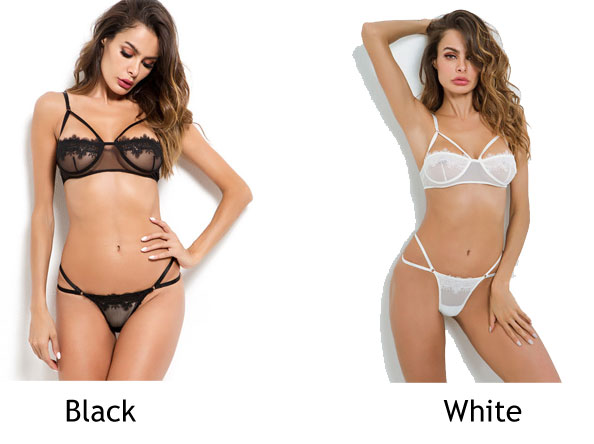 Sexy White Flower Cross Lace Mesh Perspective Women Intimate Lingerie