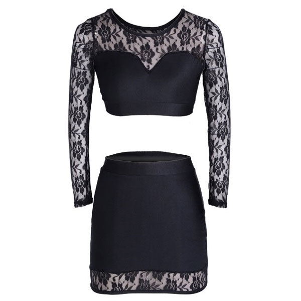 Nightclub Lace Perspective Two Piece Dresses