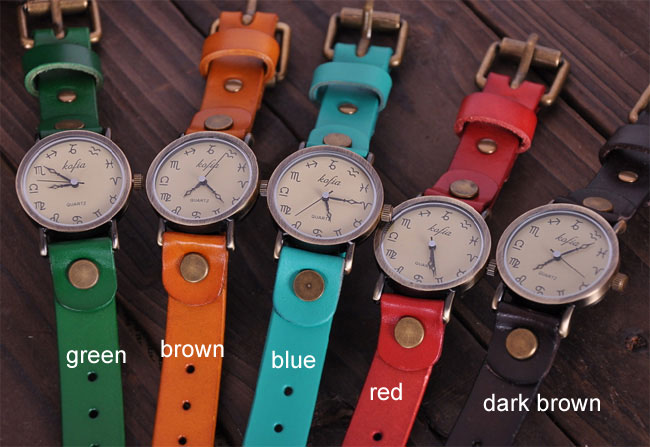 Retro Constellation Symbol Leather Watches