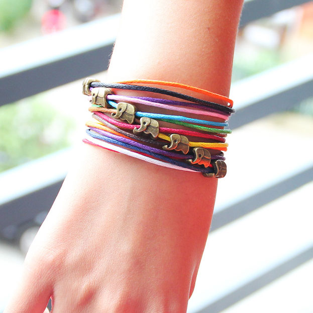 Lovely Elephant Colorful Rope Bracelet