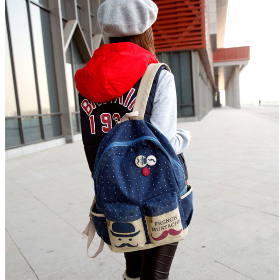Latest French Mustache Dot Canvas Backpack