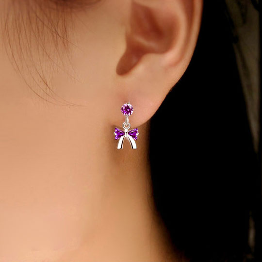 Lovley Crystal Bowknot Silver Earrings Studs