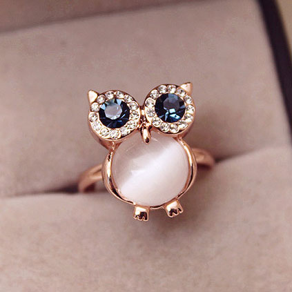 fashion Lovely Owl Opal Opening Animal Ring