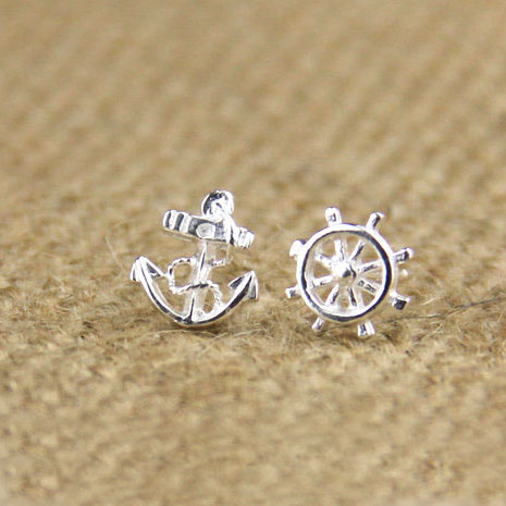 New Navy Anchor Rudder Silver Earring Stud