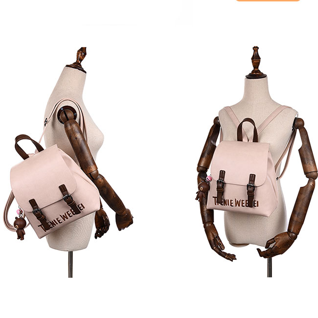 Cute Frosted PU Letters Embroidery Belt Flap Gift Bell Doll Small Lady School Backpacks
