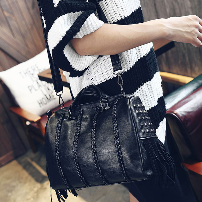 Leisure Girl's PU Tassel Rivets Braids Black Large Capacity Zipper Boston Shoulder Bag