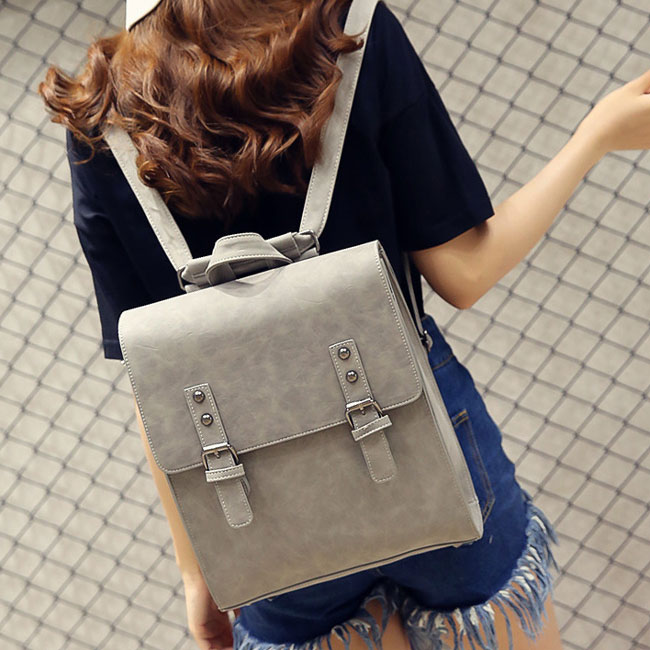 Retro Multifunction Shoulder Bag PU Square Backpack Frosted Metal Lock Flap Backpack