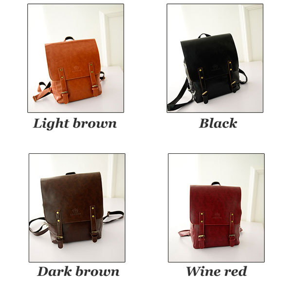 British Fashion Leather Double Belt Backpacks