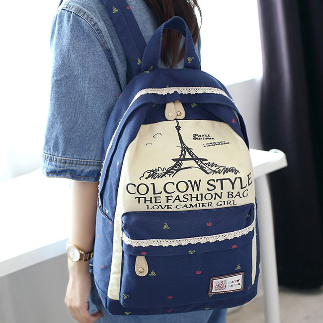 Fresh Eiffel Tower Printing Large Capacity Lace Bag Flowers Cartoon School Backpack