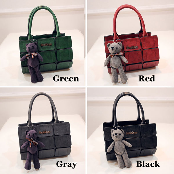 New Fall Cylinder Handbag Lovely Bear Pendant Splice Shoulder Messenger Bag