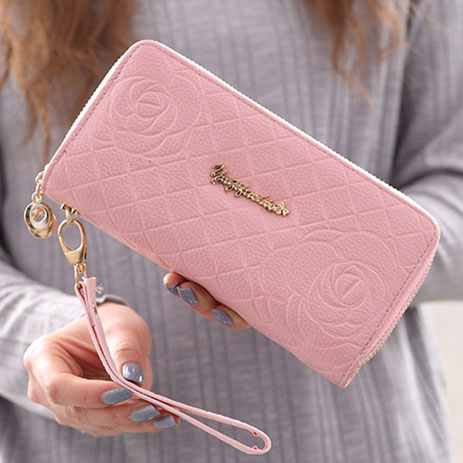 Cute PU Rose Embossed Phone Wallet Double-bagged Zipper Lock Clutch Bag Purse
