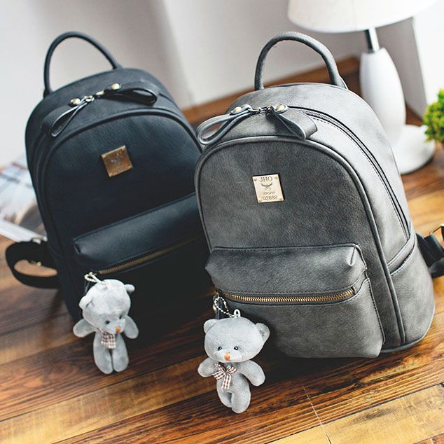 Retro Simple Girl s Frosted PU Lichee Pattern Leisure Bag Bear Doll Pendant  College Backpack 4d598a806b262