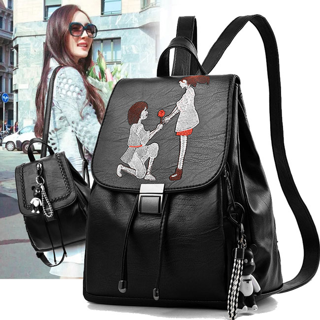 Romantic Girl's Draw String Flap PU Black Cartoon Lovers Embroidery Large Capacity School Backpack