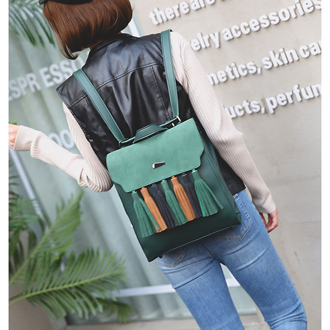 Simple British Style Tassel Contrast Color Flap PU Solid Backpack