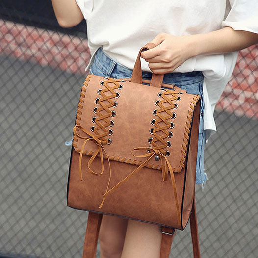 Vintage Brown Weave Headphones Hole Girl's Square Frosty Cross Decorative Flap School Backpack