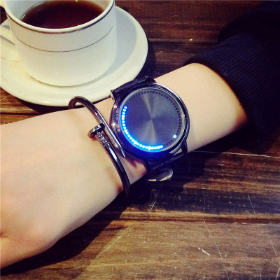 Unique Control Dial Waterproof Black White Life Tree Simple LED Light Touch-Screen Chic Watch
