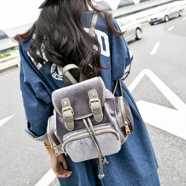 Multi Pockets Suede Shoulder Bag School Bag Backpack