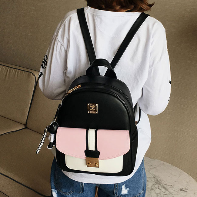 Leisure Black PU Contrast Color Girl's School Bag Small College Backpack