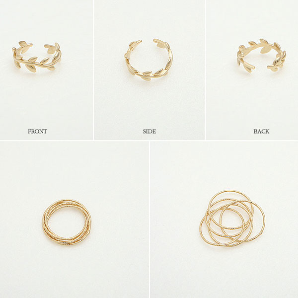Personality Leaves Circles Two Piece Rings Opening Rings