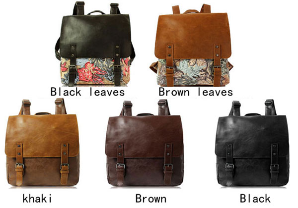 Casual Leaves Leather College Rucksack British Style Schoolbag Backpac